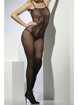 Adult Lace Patterned Crotchless Body Stocking - Back View