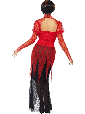 Adult Lace Devil Vampiress Costume - Side View