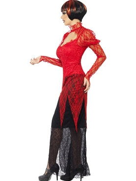 Adult Lace Devil Vampiress Costume - Back View