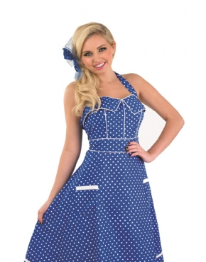 Adult Ladies 50s Blue Dress Costume - Back View