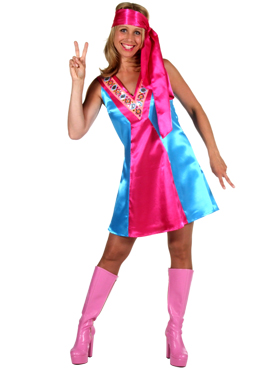Adult Ladies 70s Satin Go-Go Dress