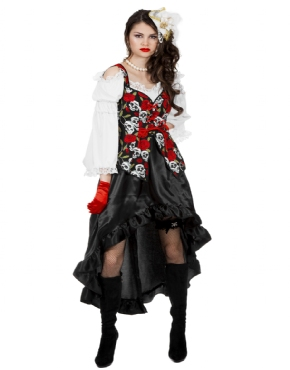 Adult Ladies Black Rose Pirate Dress Costume