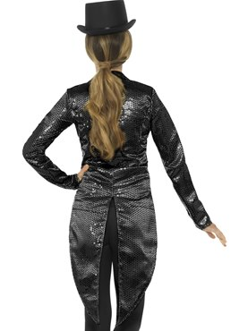 Ladies Black Sequin Tailcoat Jacket - Side View