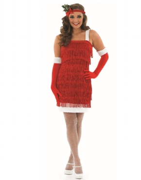 Adult Ladies Christmas Flapper Costume - Back View