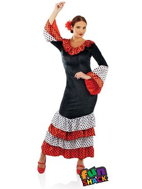 Ladies Flamenco Dancer Costume - Back View