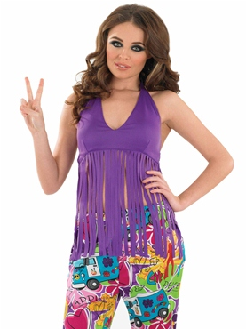 Adult Ladies Fringed Neon Purple Hippie Top