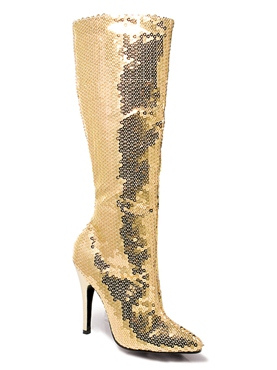 Ladies Gold Sequin Knee Boots 511tingld Fancy Dress Ball