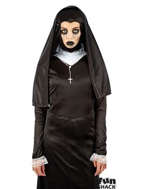 Ladies Gothic Nun Costume - Back View