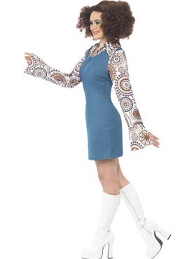 Adult Ladies Groovy Disco Dancer Costume - Back View