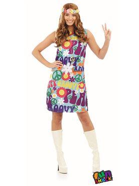 Ladies Groovy Hippie Costume Couples Costume
