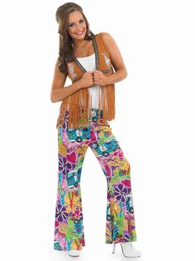Adult Ladies Hippie Fringed Waistcoat Thumbnail