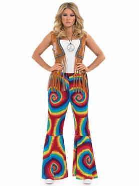 Adult Ladies Hippie Tye Dye Flares