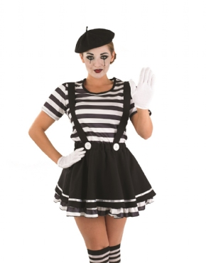 Adult Female Mime Artist Costume - Back View