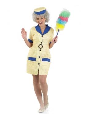 Adult Hi De Hi Peggy Cleaner Costume - Back View