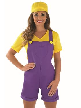 Adult Yellow Sexy Plumbers Mate Girl Costume - Back View