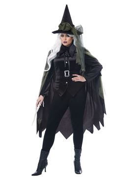 Ladies Plus Size Gothic Witch Costume - Back View