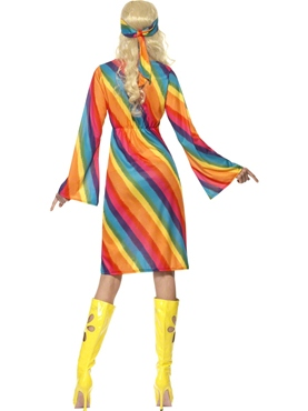 Adult Ladies Rainbow Hippie Costume - Side View