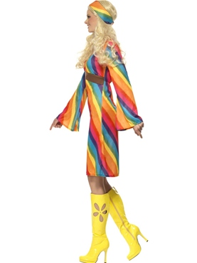 Adult Ladies Rainbow Hippie Costume - Back View
