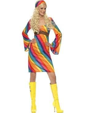 Adult Ladies Rainbow Hippie Costume