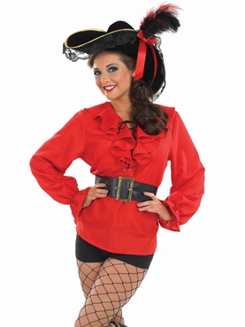 Adult Ladies Red Pirate Shirt