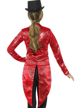 Ladies Red Sequin Tailcoat Jacket - Side View