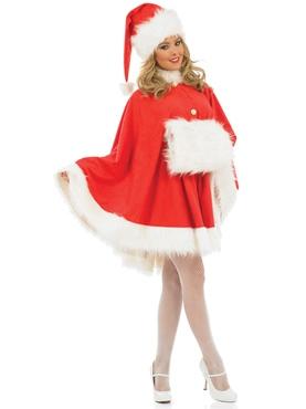 Adult Ladies Santa Cape Costume - Back View