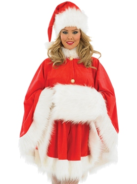 Adult Ladies Santa Cape Costume Thumbnail