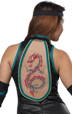 Adult Ladies Sexy Ninja Costume - Back View