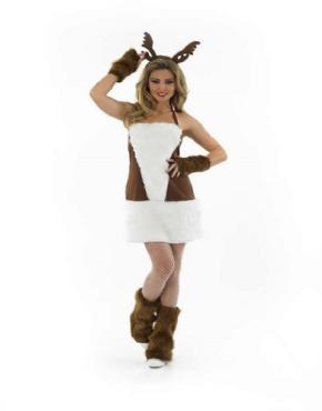 Adult Ladies Sexy Reindeer Costume - Back View