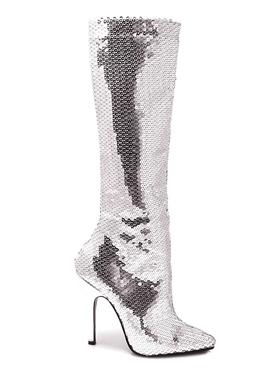 Ladies Silver Sequin Knee Boots