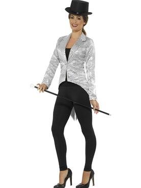 Ladies Silver Sequin Tailcoat Jacket