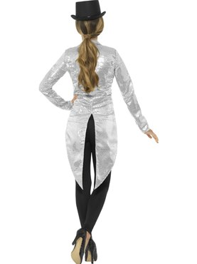 Ladies Silver Sequin Tailcoat Jacket - Side View
