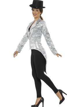 Ladies Silver Sequin Tailcoat Jacket - Back View