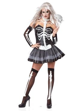 Adult Ladies Skeleton Masquerade Costume Thumbnail