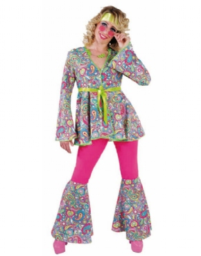 Adult Ladies Deluxe 60s Happy Hippie Costume