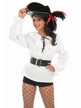 Adult Ladies White Pirate Shirt - Back View