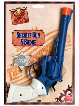 Large Sheriffs Gun And Badge Plastic - Back View