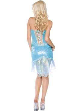Adult Blue Mermaid Costume - Back View