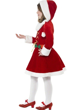 Child Little Miss Santa Costume - Back View