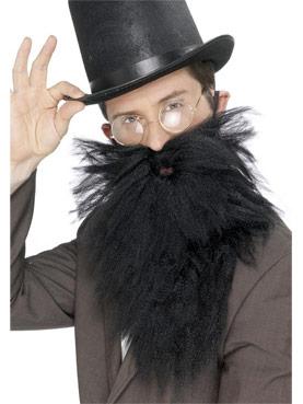 Adult Black Long Beard And Tash