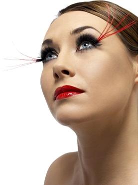 Long Red Plume Eyelashes