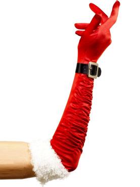 Long Santa Gloves Red