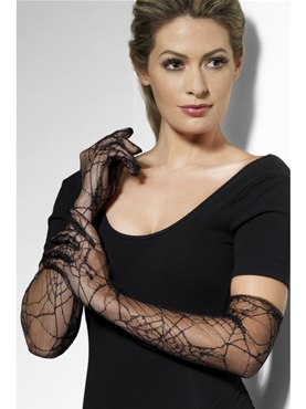 Long Spiderweb Gloves Black Lace