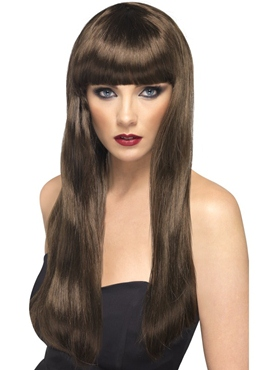 Long Straight Beauty Wig With Fringe Brown