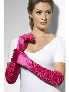 Long Temptress Gloves Hot Pink