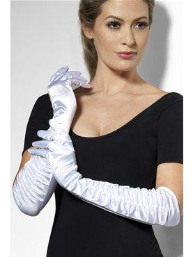 Long Temptress Gloves White