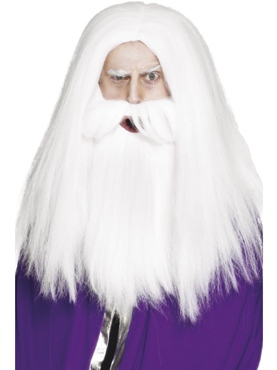 Magicians Wig And Beard Set White