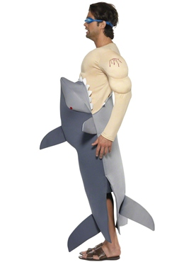 Adult Man Eating Shark Costume - Side View