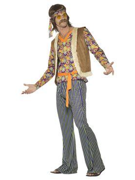 Mens 60's Hippie Singer Costume - Back View