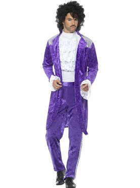 Mens 80's Purple Musician Costume
